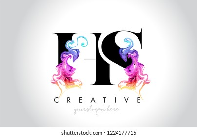 HS Vibrant Creative Leter Logo Design with Colorful Smoke Ink Flowing Vector Illustration.