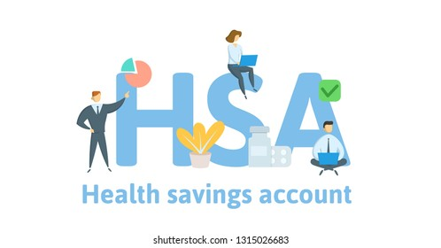 HSA, Health Savings Account. Concept with keywords, letters and icons. Colored flat vector illustration. Isolated on white background.
