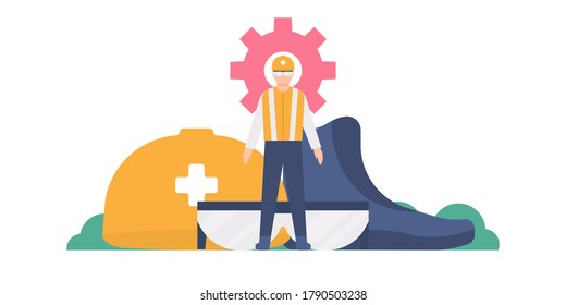 HSE concept, work safety, personal protection. illustration of a worker wearing safety equipment, such as glasses, helmet, clothes or vests, and shoes. flat design. can be used for landing pages