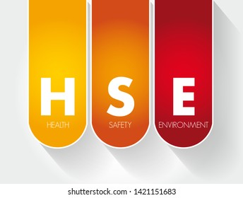 HSE - Health Safety Environment acronym, concept background