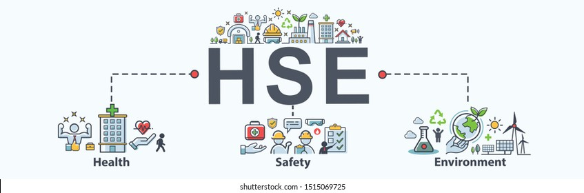HSE - Health Safety Environment acronym Banner web icon for business and organization. Standard Safe Industrial Work and industrial.