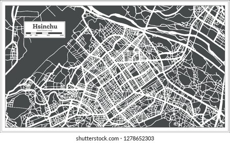 Hsinchu Taiwan City Map in Retro Style. Outline Map. Vector Illustration.
