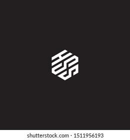 hss initial hexagon logo templet vector