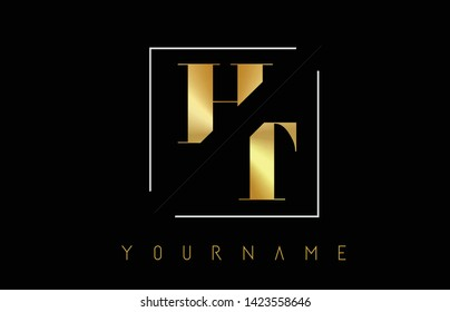 HT Golden Letter Logo with Cutted and Intersected Design and Square Frame Vector Illustration
