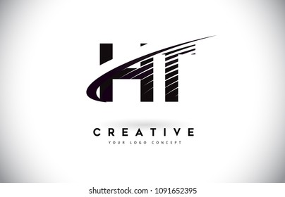 HT H T Letter Logo Design with Swoosh and Black Lines. Modern Creative zebra lines Letters Vector Logo