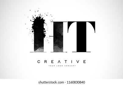 HT H T Letter Logo Design with Black Ink Watercolor Splash Spill Vector Illustration.
