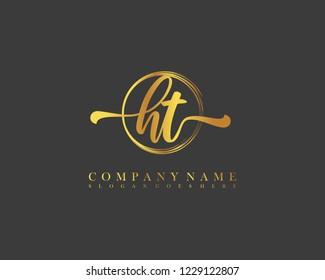 HT initial handwriting logo circle template vector