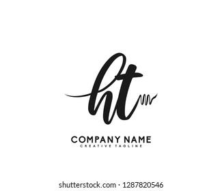 HT Initial Handwriting Logo Template Vector