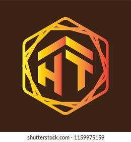 HT Initial letter hexagonal logo vector