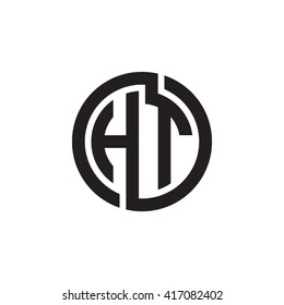 HT initial letters looping linked circle monogram logo