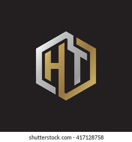 HT initial letters looping linked hexagon elegant logo golden silver black background