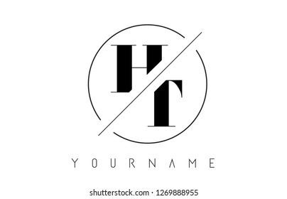 HT Letter Logo with Cutted and Intersected Design and Round Frame Vector Illustration