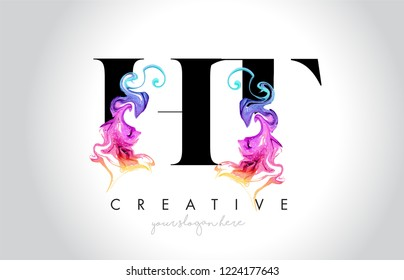 HT Vibrant Creative Leter Logo Design with Colorful Smoke Ink Flowing Vector Illustration.