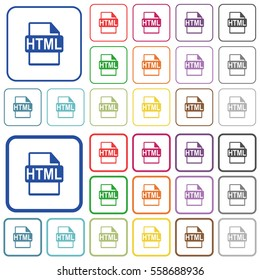 HTML file format color flat icons in rounded square frames. Thin and thick versions included.