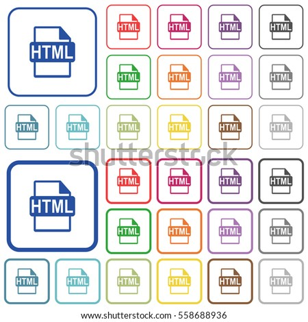 HTML File Format Color Flat Icons Stock Vector (Royalty Free ...