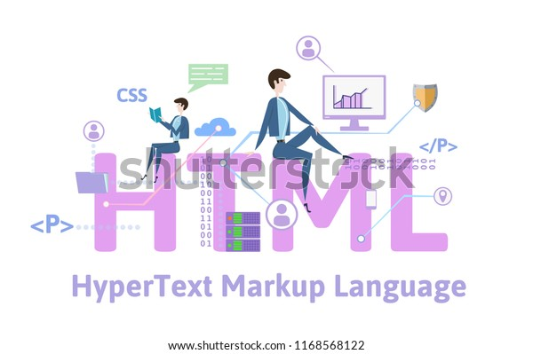 Html Hypertext Markup Language Concept Keywords Stock Vector ...