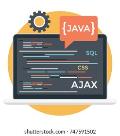 HTML, javas, source code, cascading style sheets. Programming Language Vector Icon