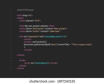 HTML screen code program developer background. Computer web interface html code vector