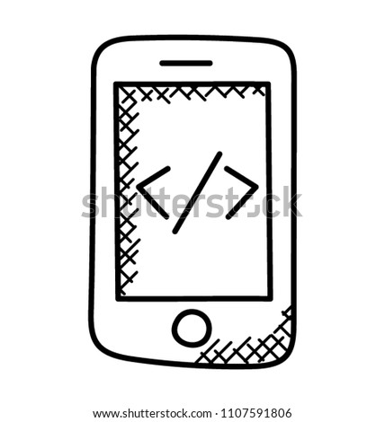 Html Source Code On Mobile Screen Stock Vector (Royalty Free