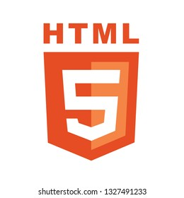 HTML5 emblem orange shield and white text. For print and web