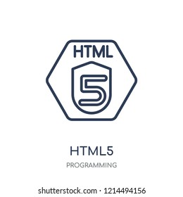Html5 icon. Html5 linear symbol design from Programming collection. Simple outline element vector illustration on white background.