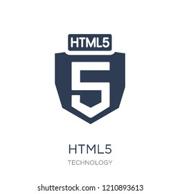 HTML5 icon. Trendy flat vector HTML5 icon on white background from Technology collection, vector illustration can be use for web and mobile, eps10
