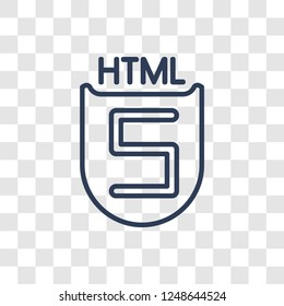 HTML5 icon. Trendy linear HTML5 logo concept on transparent background from Technology collection