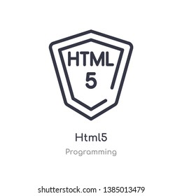 html5 outline icon. isolated line vector illustration from programming collection. editable thin stroke html5 icon on white background