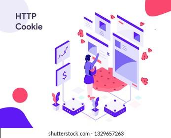 HTTP Cookie Isometric Illustration. Modern flat design style for website and mobile website.Vector illustration