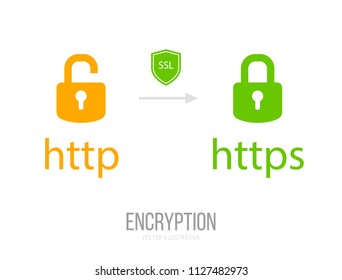HTTP and HTTPS Protocols. Safe and Secure Wev Browsing. Vector Illustration.