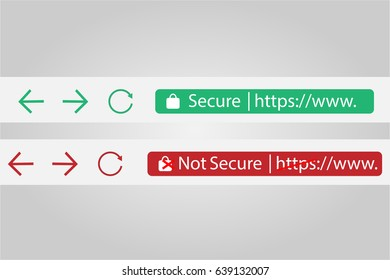HTTP Secure and Not Secure Vector Illustrations
