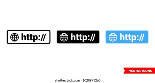 HTTP symbol icon of 3 types: color, black and white, outline. Isolated vector sign symbol.
