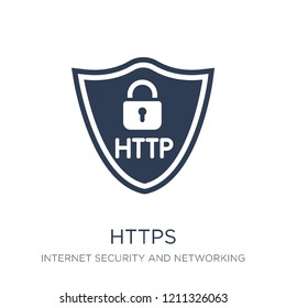 Https icon. Trendy flat vector Https icon on white background from Internet Security and Networking collection, vector illustration can be use for web and mobile, eps10