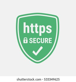 HTTPS Protocol. Safe and Secure Web sites on the Internet. SSL certificate for the site. Advantage TLS. Closed padlock on a green shield. Material Design icon. Vector illustration.