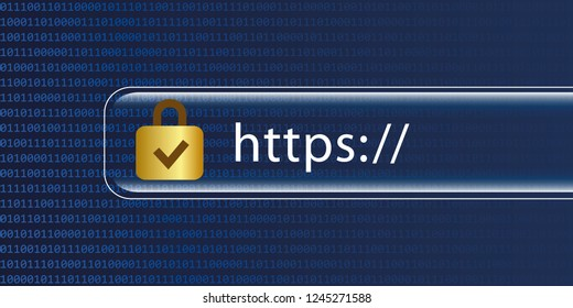 https safe web blue digital binary code background vector illustration EPS10