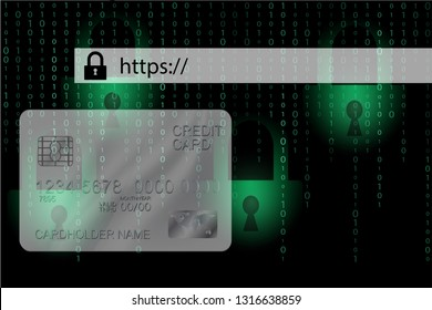 HTTPS secure internet connection in browser address bar for staying safe on the web with green binary code and credit card background.
