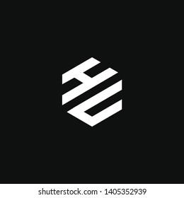 HU or H U letter alphabet logo design in vector format.