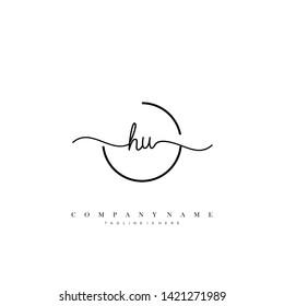 HU initial handwriting logo template vector