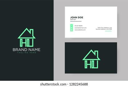 HU Letter Real Estate Logo Design - Real estate logo.