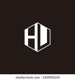 HU Logo Initial Monogram Negative Space Designs Templete