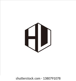HU Logo Initial Monogram Negative Space Designs Modern Templete with Black color and White Background
