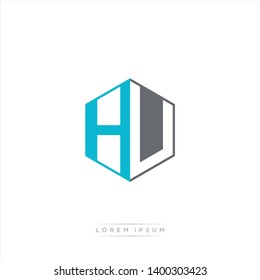 HU Logo Initial Monogram Negative Space Design Template With Light blue and Grey color