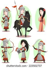 Hua Mulan Chinese female hero Traditional Culture, vector illustration cartoon.