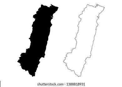 Hualien County (Administrative divisions of Taiwan, Republic of China, ROC, Counties) map vector illustration, scribble sketch Hualien map