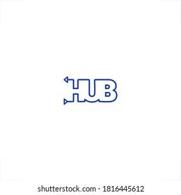 hub logo outline word mark design