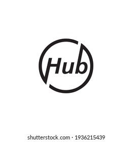 HUB Monogram Circle Letter Logo Design .