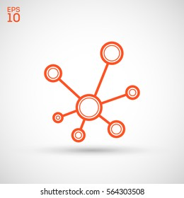 Hub network connection isolated minimal flat line icon