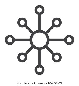 Hub and spoke line icon, outline vector sign, linear style pictogram isolated on white. network nodes symbol, logo illustration. Editable stroke