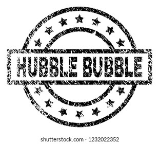 HUBBLE BUBBLE stamp seal watermark with distress style. Designed with rectangle, circles and stars. Black vector rubber print of HUBBLE BUBBLE text with corroded texture.
