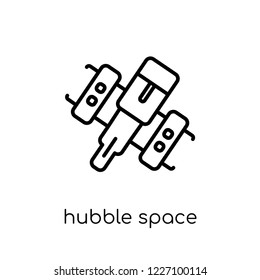 hubble space telescope icon. Trendy modern flat linear vector hubble space telescope icon on white background from thin line Astronomy collection, outline vector illustration